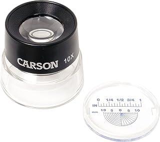 Carson Lumiloupe 阅读放大镜,10倍放大倍率,带夹具的光罩,黑色