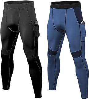 2 件装男式压缩裤带口袋 运动打底裤,健身锻炼打底裤跑步紧身裤