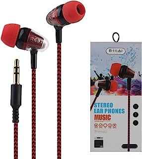 带麦克风的塑料耳塞耳机 3 件装耳塞有线立体声耳机入耳式耳机低音耳塞适合所有3.5毫米接口随机颜色红蓝色