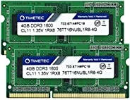 timetec Hynix IC DDR 31600MHz PC 3–12800NON ECC unbuffered 1.35V cl112rx8双通道204PIN sodimm 笔记本电脑*内存 RAM