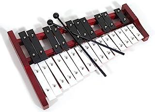 专业红色木制高音钟琴木琴,带 25 个金属钥匙,适合成人和儿童 - 包括 2 个塑料搅拌器CA-TL25R