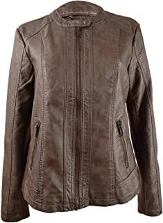 Style & Co. 女士多孔染色人造皮夹克