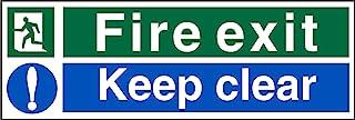 Seco Fire Exit - 男士左跑,消防,远离标记,保持清晰标志,300 毫米 x 100 毫米 - 1 毫米半刚性塑料