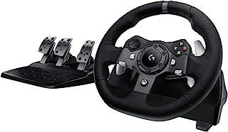 Logitech 罗技 G920 驱动力赛车车轮和地板踏板,真实力反馈,不锈钢拨片开关,皮革方向盘套,可调节地板踏板,EU插头,Xbox One / PC / Mac-黑色