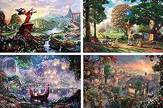 Thomas Kinkade Fantasia Lady & the tramp Winnie the Pooh tangled Disney dreams 系列 4 合 1 拼图套装 500 件