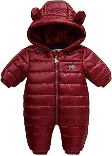 婴儿保暖冬季防雪服纯色连衫裤羊毛连帽羽绒服外套