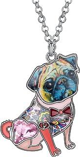 DUOWEI 6 色可爱珐琅蝴蝶结法国斗牛犬吊坠项链水钻狗首饰 45.72 厘米链条原创设计