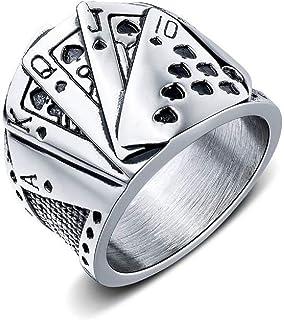 男式不锈钢德州扑克牌直冲朋克骑行者戒指男士复古扑克牌数字心形手指戒指个性魔术师珠宝成人戒指礼物男士丈夫