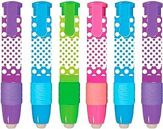 Kicko 圆点橡皮擦棒 - 6 支装 - 柔软白色乙烯基可伸缩橡皮擦,时尚钢笔设计,适合学校活动、派对礼物、学生*励、办公用品、艺术家工具