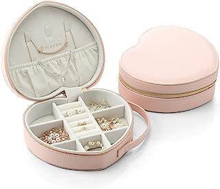Vlando 旅行首饰收纳盒,粉色心形女孩礼物。耳环、项链、手链收纳盒。(粉色)