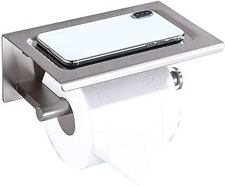 卫生纸架 SUS304 不锈钢卷分配器存储浴室配件卫生间纸巾架带手机架自粘 无钻孔或壁挂式带螺丝拉丝镍