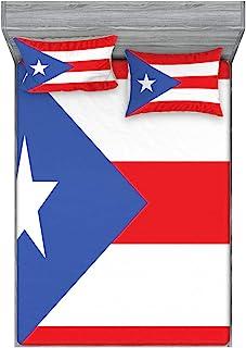 Ambesonne 波多黎各床笠和枕套套装,波多黎各国旗条纹星星的简单图形插图,装饰印花 3 件套床上用品装饰套装,普通,朱红色紫罗兰蓝