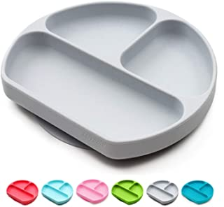 幼儿吸盘和碗可粘在高脚椅上,防滑硅胶喂食餐垫,适用于婴儿、婴儿、分开婴儿餐具,完美儿童餐盘,可用洗碗机清洗,可微波加热 灰色