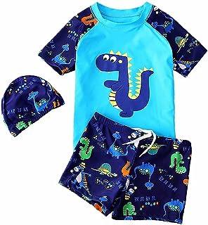 儿童男婴两件套泳衣短袖*服套装带帽子 UPF50+ *恐龙泳装