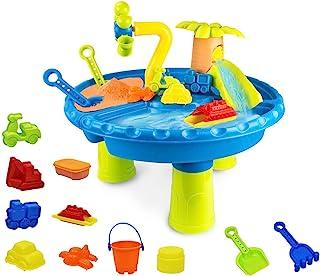 22 件幼儿水桌,儿童玩沙子和水桌,户外玩具沙滩游戏桌,夏季沙滩玩具户外水桌,适合户外活动,男孩女孩儿童生日