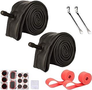 VARWANEO 26 英寸(约 66.0 厘米)自行车管,26 x 1.75 / 26 x 1.95 / 26 x 2.125 山地自行车轮胎内管 2 件装 带补丁修复套件和 2 个轮辋保护装置