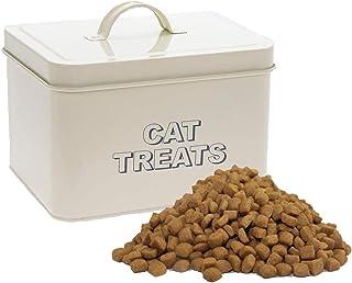 Lesser & Pavey Sweet Home 猫零食容器 | 猫零食罐 奶油色正面带标签 | 怀旧艺术风格的理想宠物零食存储 | 7.5 x 6.5 英寸(约 19.05 x 16.5 厘米)小动物零食容器