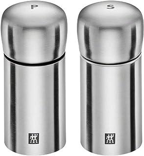 ZWILLING 双立人 不锈钢香料盐和胡椒研磨瓶2件套,银