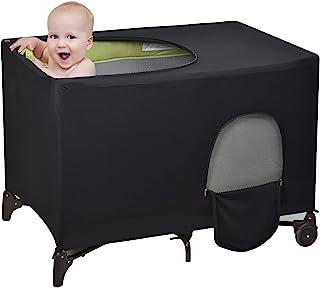 婴儿床帐篷罩 弹性遮光帐篷 适用于 Pack N Play (黑色)