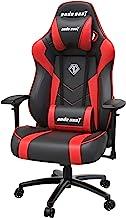 人体工程学游戏椅,ANDASEAT 黑暗恶魔旋转 PVC 皮革电脑办公椅,4D 可调节 PU 扶手视频游戏椅,160° 游戏躺椅,带头枕腰枕,适用于家庭-红色
