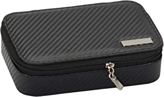 Mele & Co Mark 碳纤维效果 PU 袖扣盒,黑色,17 厘米 x 12 厘米 x 4 厘米