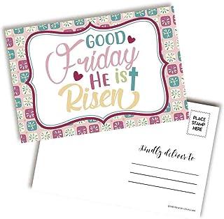 He Is Risen Good Friday 宗教信仰主题空白明信片,可发送给朋友和家人,10.16 厘米 x 15.24 厘米填写记事簿 AmandaCreation (20)