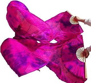 Dannaoous 2021 专业彩色扎染舞蹈迷丝,1 双女式彩色长折叠风扇,专为舞蹈表演和流动艺术设计,长度 71 英寸(180 厘米)宽 35 英寸(90 厘米)