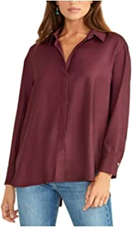RACHEL ROY 女式紫色长袖有领束腰上衣 S 码