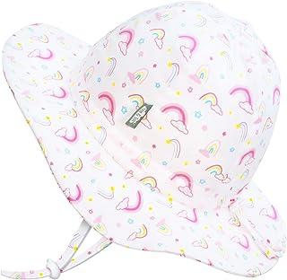 JAN & JUL 50+ UPF 棉质遮阳帽,带绑带可调节,适合生长,适合婴幼儿 彩虹色 XL: 5-12Y