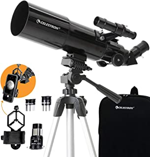 Celestron 22030 Travel Scope 80 Portable Telescope with Smartphone Adapter and Backpack, Black
