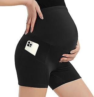 Ronyme 孕妇短裤腹部孕妇瑜伽短裤带口袋非透视孕妇锻炼短裤