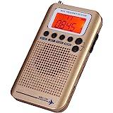 飞机乐队收音机接收器扫描仪 VHF,手持,便携式全频收音机录音机(金色)