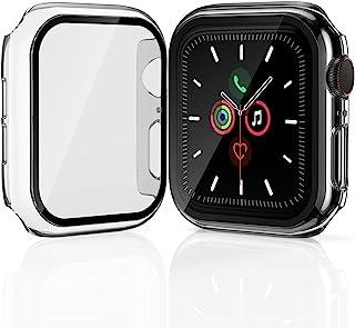 [2 件裝] Geekboy Apple Watch 屏幕保護膜44 毫米 42 毫米 40 毫米 38 毫米,鋼化玻璃iWatch 保護套適用于 iPhone Watch 系列 SE/6/5/4/3/2/1 高級保險杠
