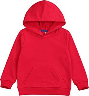 婴儿运动衫 1-7 岁,幼童男孩女孩秋冬长袖纯色连帽休闲上衣套衫