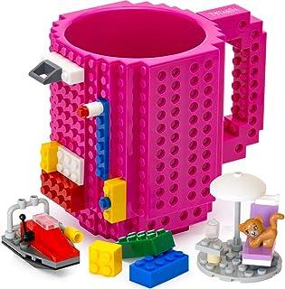 TOYAMBA Build-on Brick 马克杯 - 453.59 ml 不含 BPA 趣味咖啡杯 3 件装积木,儿童趣味杯 - 创意积木马克杯 DIY 礼物创意 紫红色 NCS-TMB-006