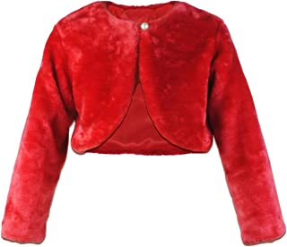 HCABL 女孩人造皮草连衣裙外套花朵女孩波列罗夹克公主披肩冬季1-10