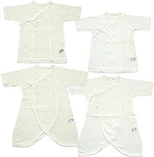 宝宝故事日本制造新生婴儿内衣4件套圆点 & 无花 Merma 加工弹性面料50cm Mi–4 奶油色 50
