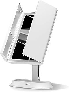 Fancii LED 照明化妆镜,3 色温度,可充电三折式化妆镜,带 5x / 7x 放大 - 可调光灯,超反光玻璃,触摸传感器,化妆支架(佐拉)
