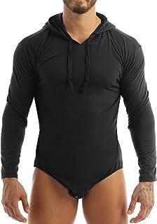 Yanarno 男式长袖连帽紧身衣衬衫 Press Bottons Diaper Lovers Romper 紧身连衣裤睡衣