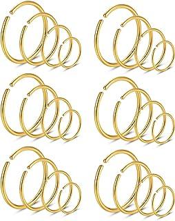 Angel King 不锈钢箍鼻环软骨戒指套装 6 色套装 男女适用