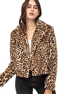 Mirabell 女士长袖豹纹人造毛皮大衣