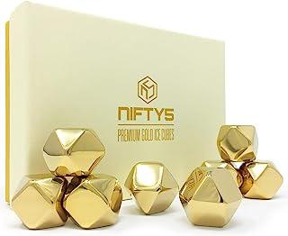 NIFTY5 威士忌石金色版礼品套装 8 个不锈钢钻石形状的冰块,可重复使用的冰块,包括硅胶尖夹和存储盘