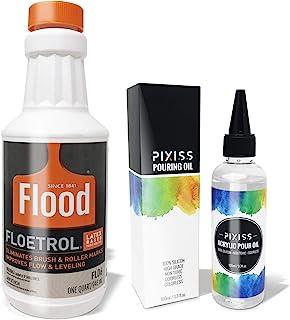 1 夸脱泛水浮动添加剂,Pixiss 亚克力倾倒油,创造*完美流畅,* 纯高级硅胶 - 100ml/3.3 盎司,3X 管