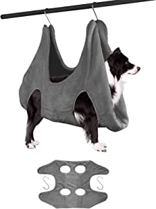Ulobey 宠物*吊床助手器,猫狗*剪束缚袋,梳洗浴和*修剪用干毛巾,4 个挂钩,中号