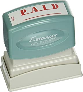 """Xstamper(R) One-Color Title Stamp, Pre-Inked,""""Paid"""", Eco Greeen, Box 1"""