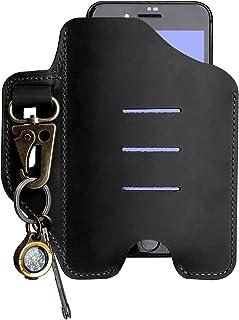 VIPERADE PJ20 手机皮套,通用皮革手机皮套,带钥匙扣,手机袋,皮革皮带手机皮套(黑色)