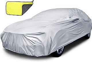 Frienda 全车罩 大型防水天气 适用于汽车防雨 太阳 防紫外线 户外汽车罩 带汽车毛巾,适合许多轿车(185 至 195 英寸)
