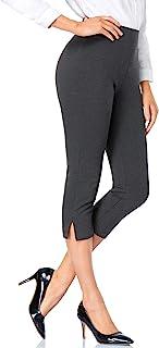 Tapata 女式 20.5 英寸(约 50.5 厘米)直筒卡普里正装裤短款办公裤带高腰商务休闲职业裤