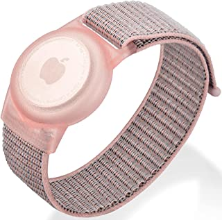 儿童软腕带 兼容 Apple AirTag 保护皮肤友好型腕带 儿童尺寸,可调节 6.7 英寸(约 16.9 厘米)腕带 兼容 Airtag GPS Tracker Finder,云粉色