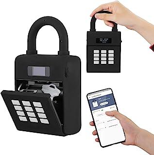 智能钥匙锁盒,蓝牙智能钥匙盒通过蓝牙/代码/应用程序即时远程访问 - H HUKOER,无需WiFi便携式壁挂式户外锁盒